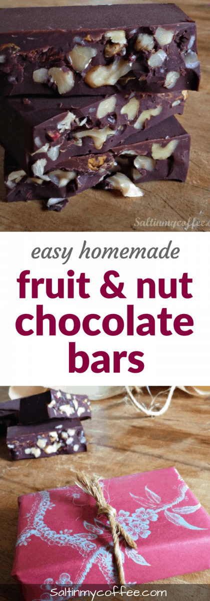 easy homemade fruit and nut chocolate bars
