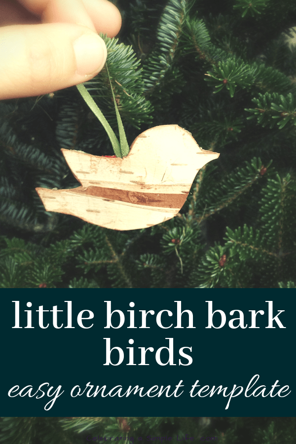 Little birch bark birds make easy handmade ornaments, and they're so adorable!!! #handmadechristmas #farmhousechristmas #christmascrafts #handmadeornaments #countrychristmas #oldfashionedchristmas
