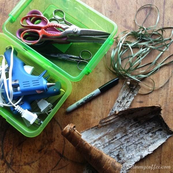 supplies for making birch bird ornaments