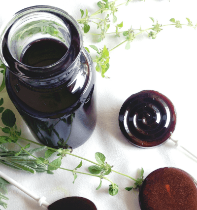 elderberry lollipops made with elderberry syrup, lemon balm, and lavender