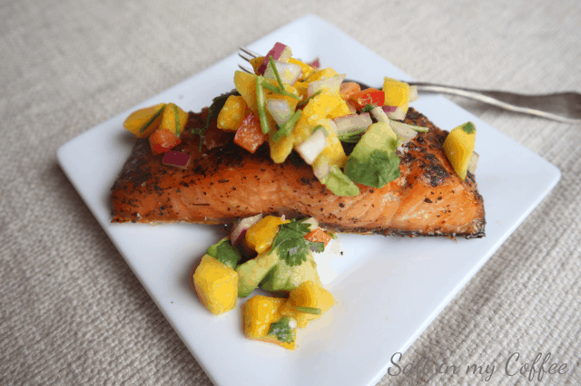 grilled salmon with mango lime salsa