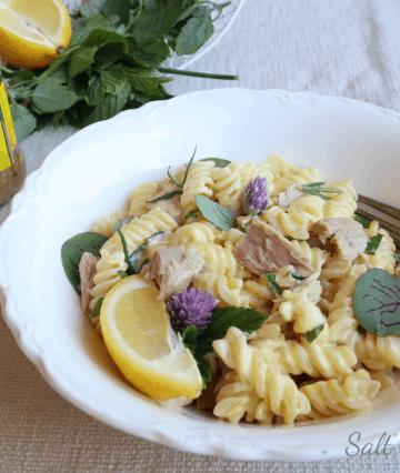 fusilli alfredo with lemon tuna and fresh herbs