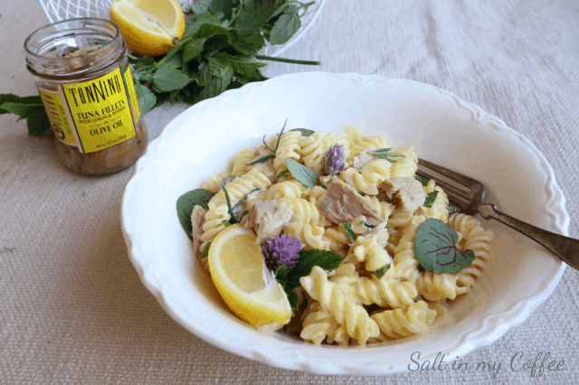 fusilli alfredo with lemon tuna and fresh herbs