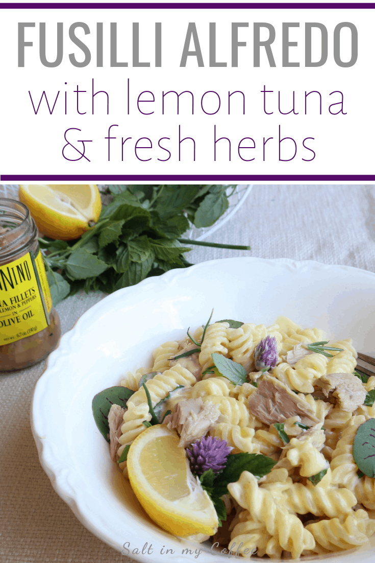 fusilli alfredo with lemon tuna and herbs #alfredo #tunarecipes