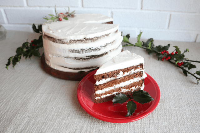 gluten free gingerbread spice cake with mascarpone frosting