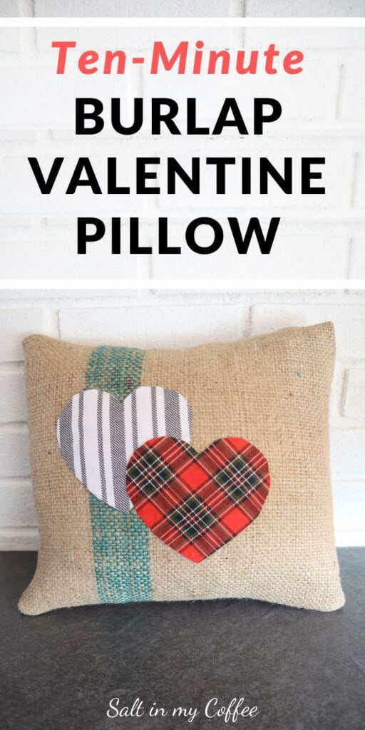Burlap Valentine Pillow cover