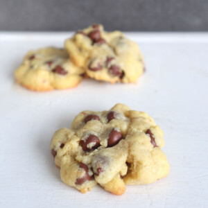 Einkorn Chocolate Chip Cookies made with no baking soda or baking powder