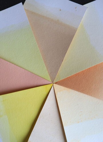 color wheel of plant dyed paper