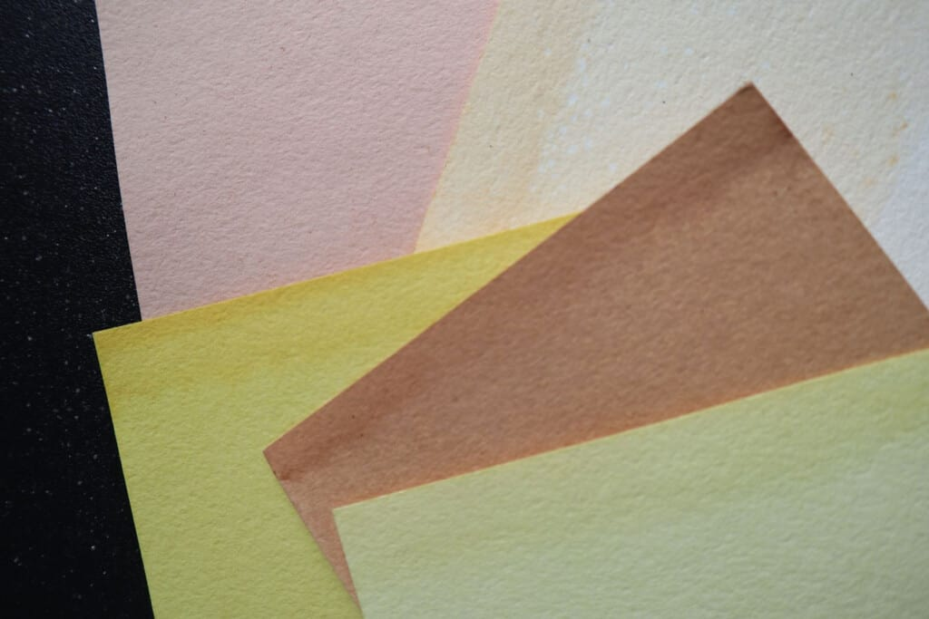 stack of plant dyed paper