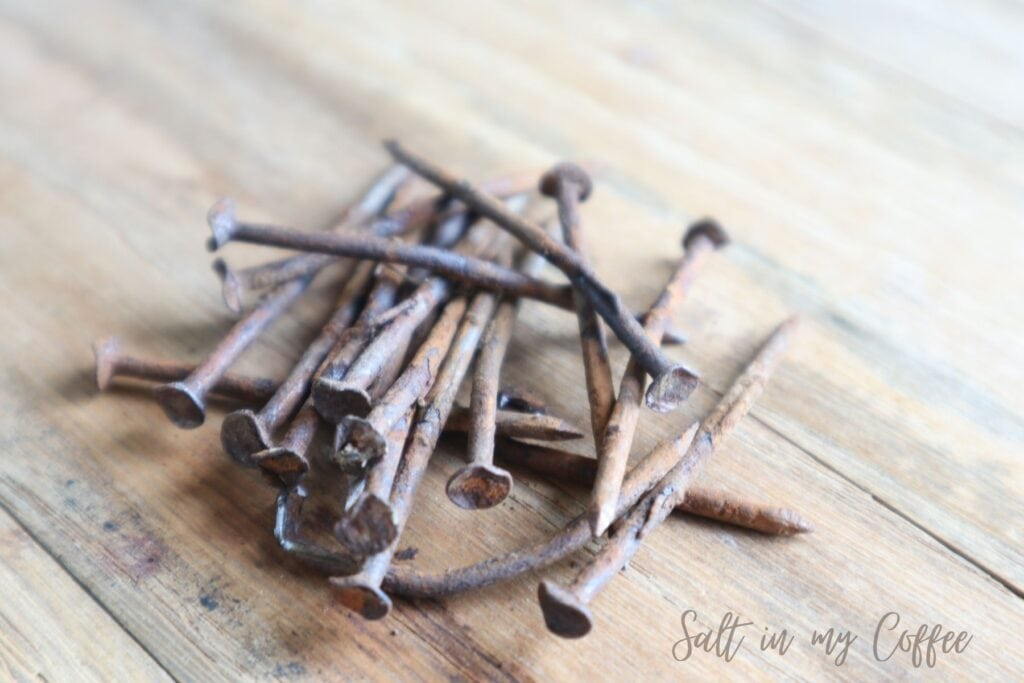rusty nails for making an iron mordant