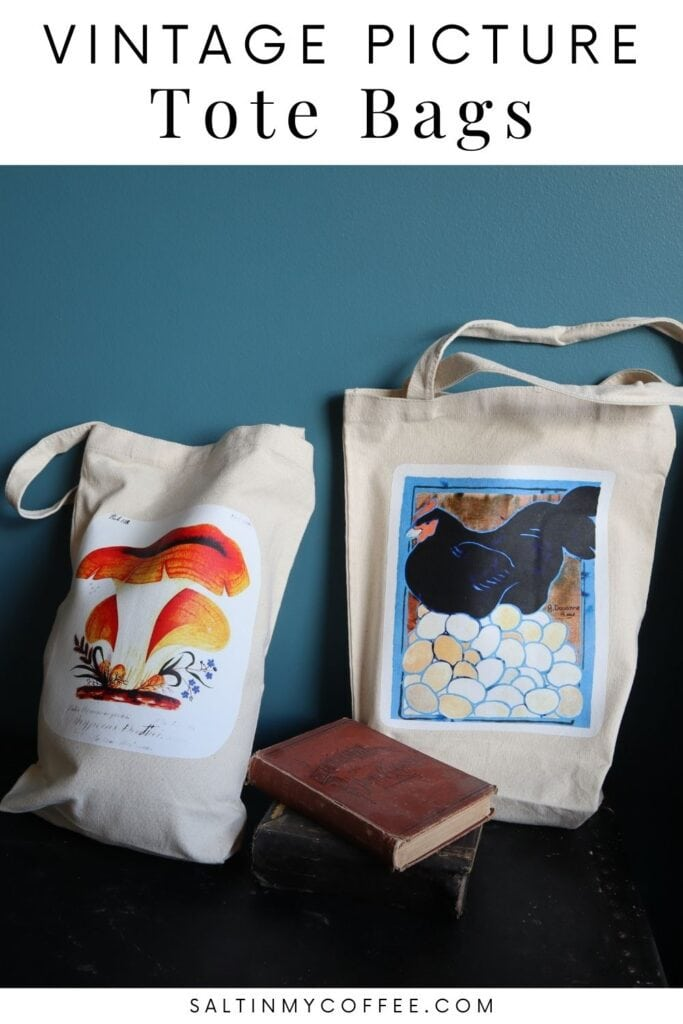 Tote bags with vintage botanical illustrations