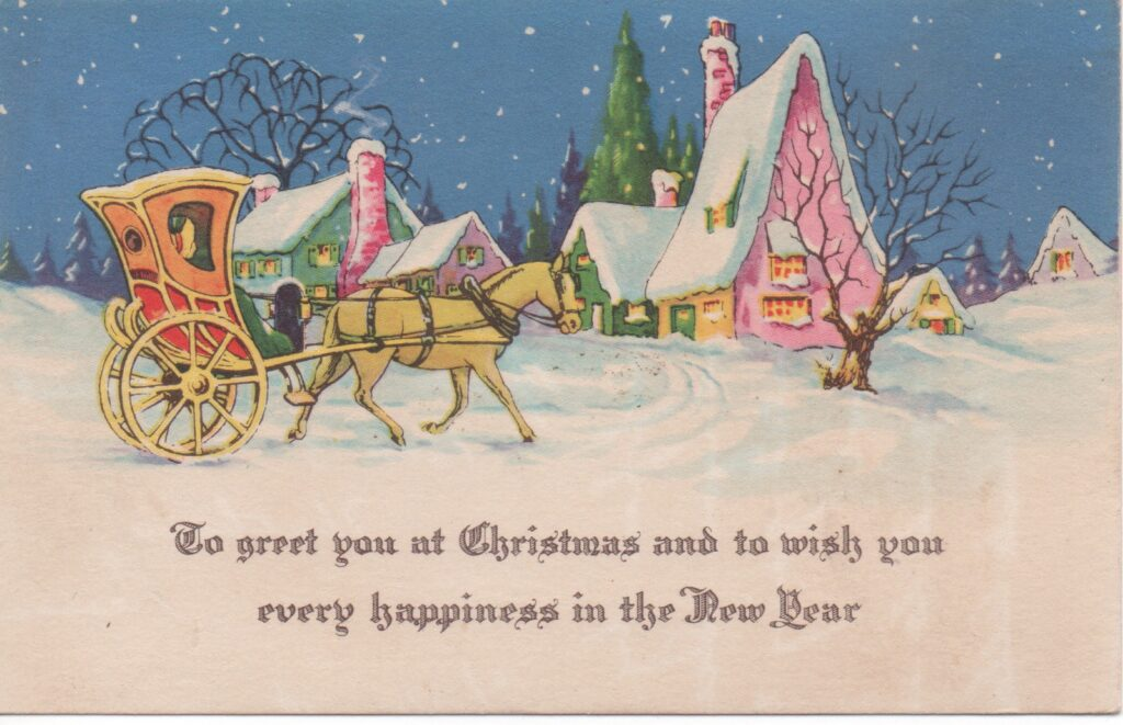 Vintage Christmas postcard with horse and carriage