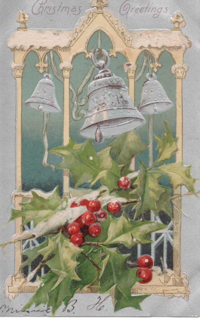 Early 1900s Christmas postcard with silver bells embossed