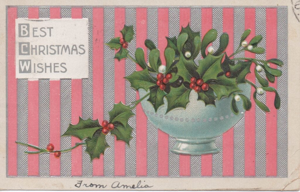 Vintage Christmas postcard from early 1900s