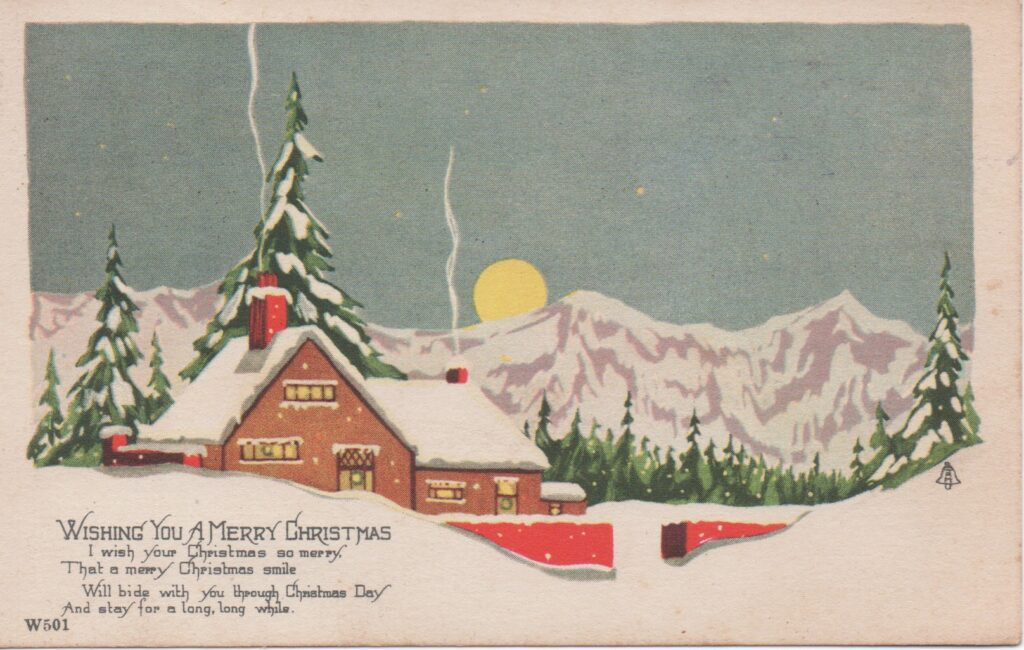 Early 20th century Christmas postcard with snowy scene
